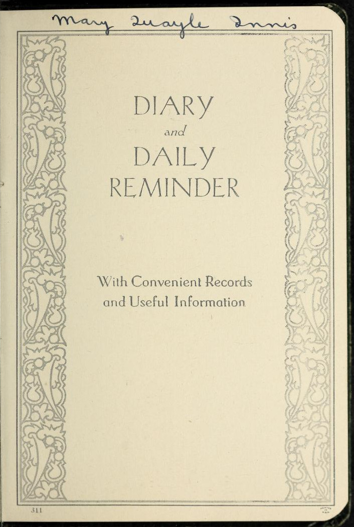 Mary Quayle Innis Personal Diary, 1933